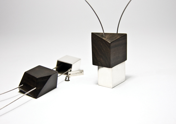 Oppression | Suppression; 2015 Neckpieces; Sterling Silver, Ebony, Stainless Steel Cable Carly Lay